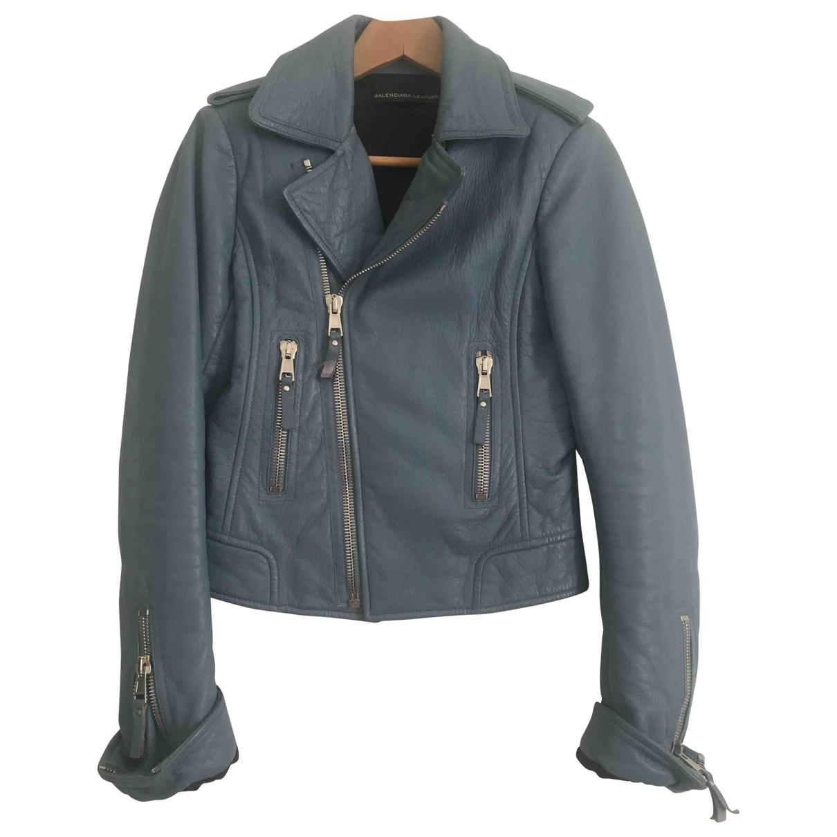 Balenciaga - Blouson   pour femme en cuir - bleu