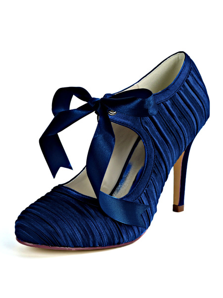 Milanoo Wedding Shoes Deep White Satin Round Toe Stiletto Heel Womens Bridal Shoes
