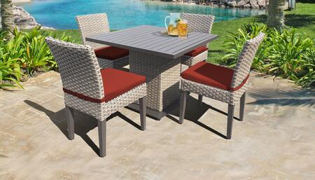 Florence Collection FLORENCE-SQUARE-KIT-4ADCC-TERRACOTTA Patio Dining Set with 1 Table   4 Side Chairs - Grey and Terracotta