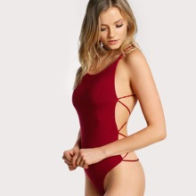 Strappy Open-Back Thong Bodysuit