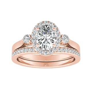 Ethical Sparkle 1 1/4ctw Oval Halo Lab Grown Diamond Engagement Ring Set 14k Gold (Rose - 4.5)