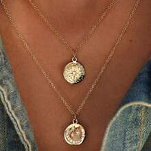 Rhinestone Star & Moon Coin Layered Necklace