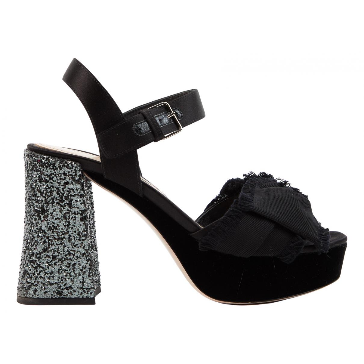 Miu Miu N Black Suede Sandals for Women 37 EU