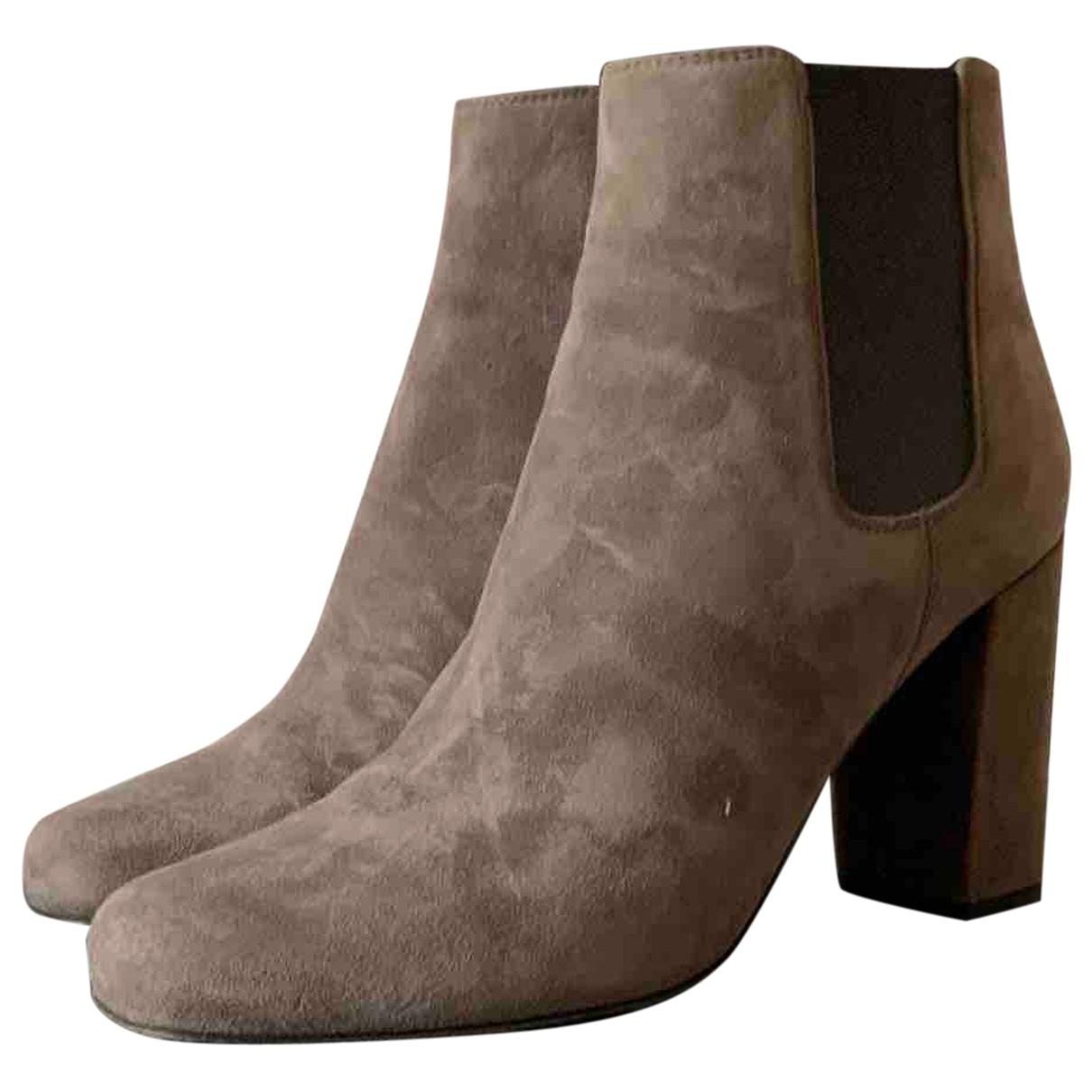 Saint Laurent - Boots Loulou pour femme en suede - gris