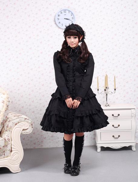 Milanoo Pure Black Cotton Lolita One-piece Dress Long Sleeves Ruffles Lace Trim