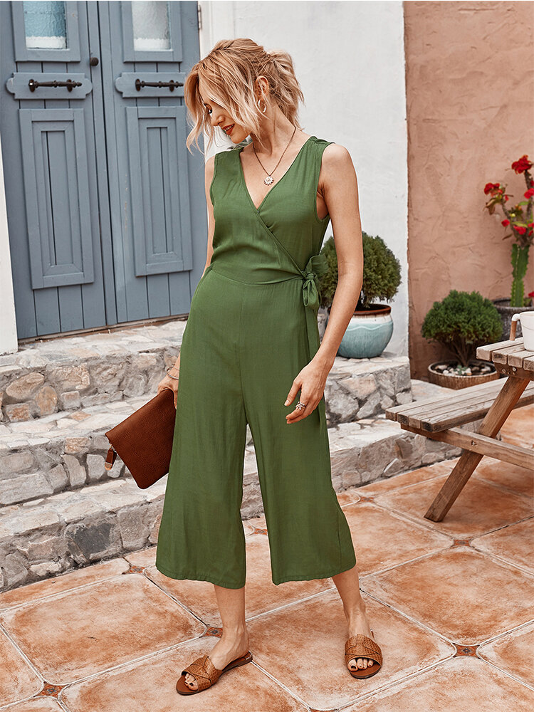 V-neck Lace-up Solid Color Sleeveless Casual Cropped Trousers Jumpsuit For Women