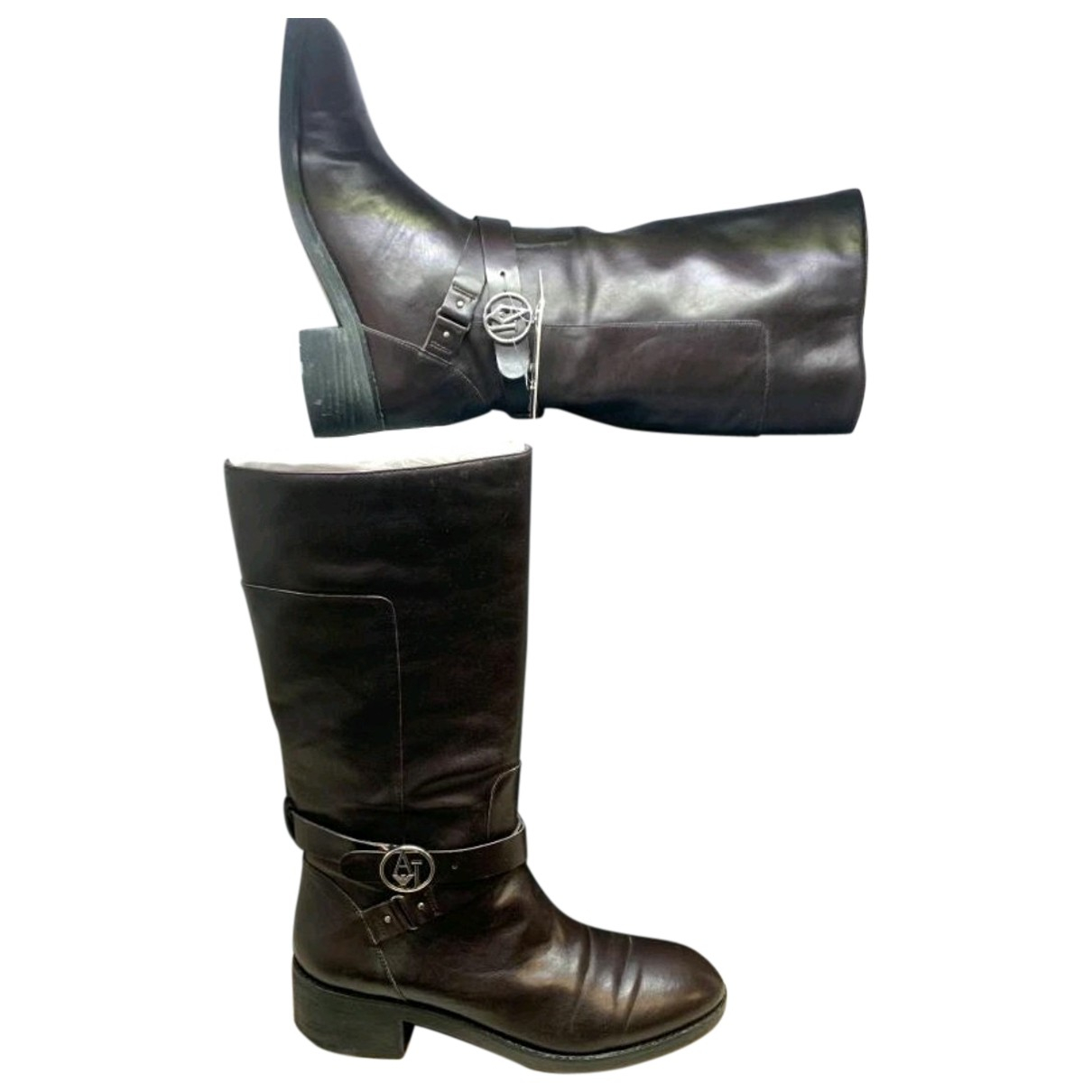 Armani Jeans N Brown Leather Boots for Women 40 EU