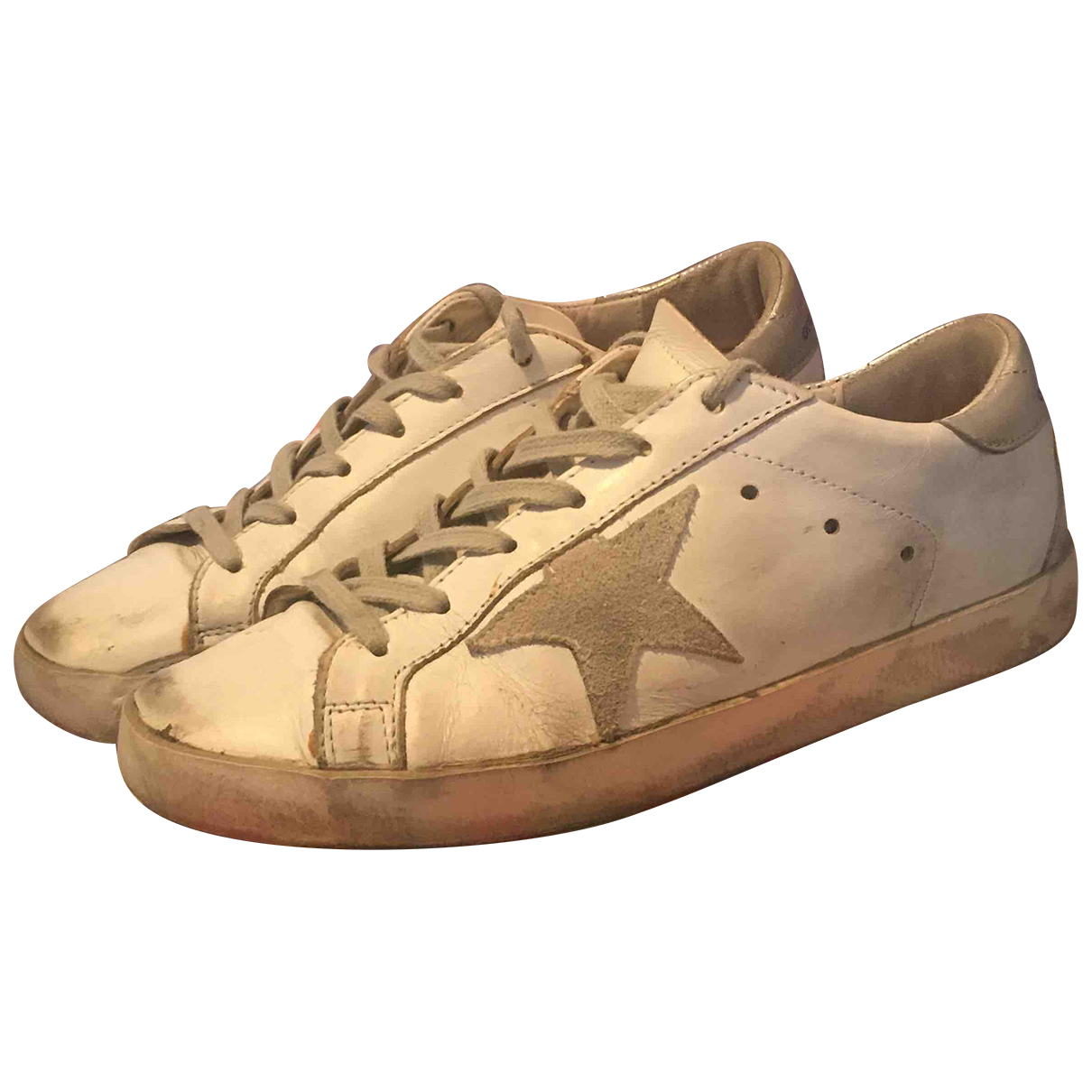 Golden Goose - Baskets Superstar pour femme en cuir - blanc