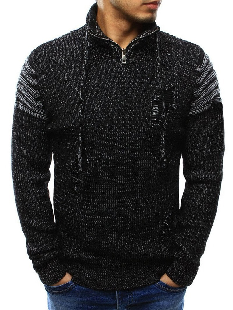 Ericdress Zipper Style Casual Straight Men's Sweater