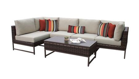 Barcelona BARCELONA-06q-BRN 6-Piece Patio Set 06q with 2 Corner Chairs  3 Armless Chairs and 1 Coffee Table - 1 Beige Cover with Brown
