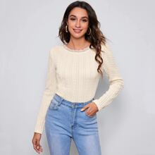 Lace Trim Cable Knit Tee