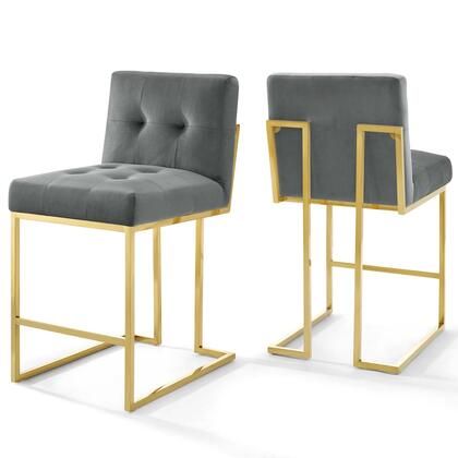 Privy Collection EEI-4155-GLD-CHA Set of 2 Counter Stools with Non-Marking Foot Caps  Gold Stainless Steel Geometric Base and Stain-Resistant Velvet