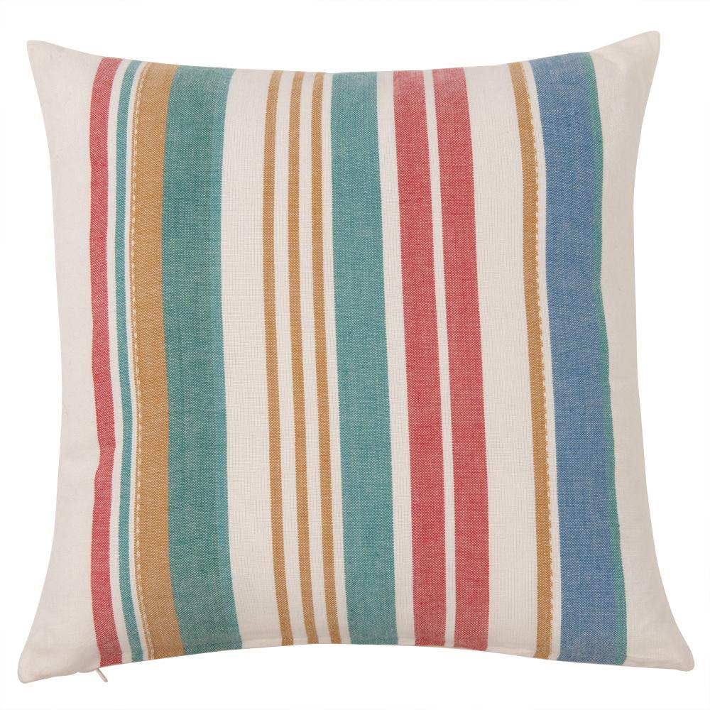 Kissenbezug aus Baumwolle mit farbigen Streifen 40x40