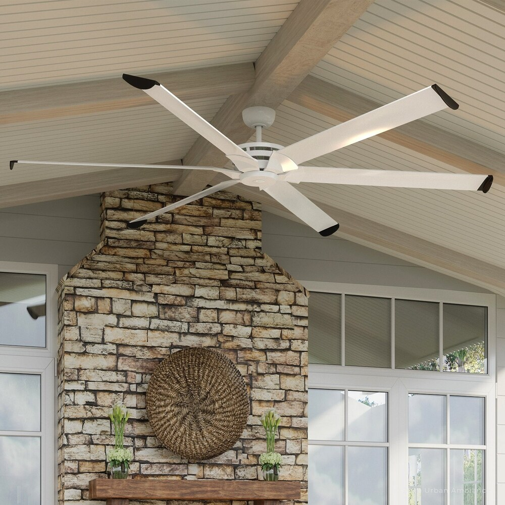 Luxury Industrial Indoor / Outdoor Ceiling Fan, 15.5H x 96W, with Urban Loft Style, Matte White, UHP9130 by Urban Ambiance (Matte White - 96 Inches