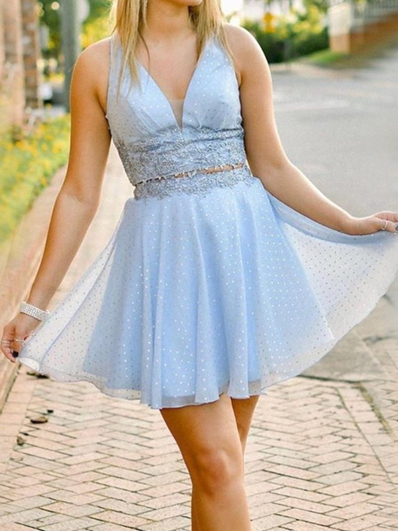 Ericdress Appliques Short Sleeveless A-Line Homecoming Dress