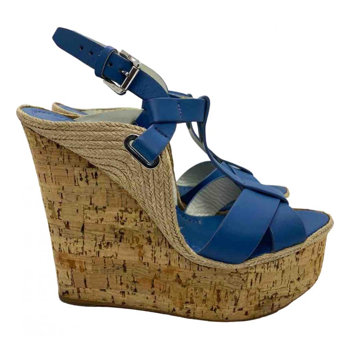 Ralph Lauren \N Blue Leather Sandals for Women 37.5 EU