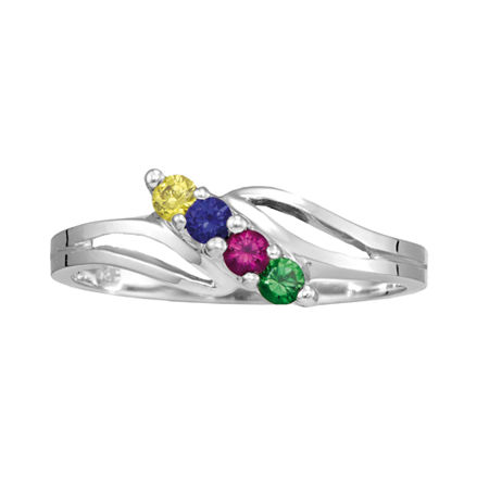 Personalized Sterling Silver Simulated Birthstone Family Ring, 5 1/2 , No Color Family