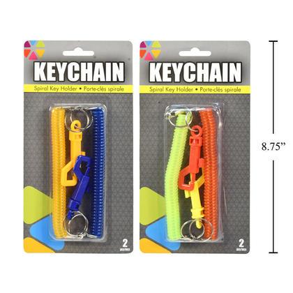 Spiral Key Holder Elastic Stretchy Swipe Badge Key Chain 2Pcs/Pack, 1 Randomized Color Per Pack