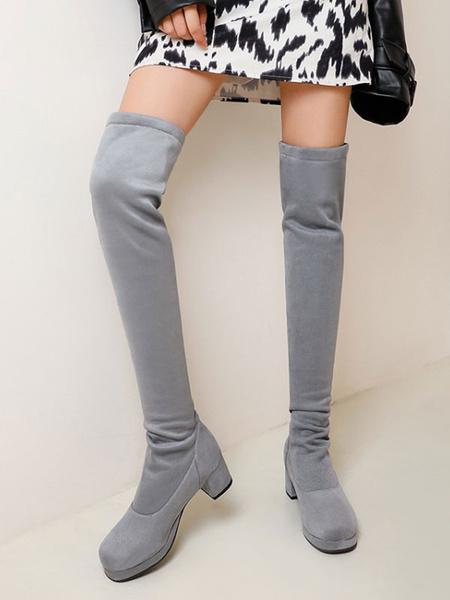 Milanoo Botas de Lolita con parte superior de micro gamuza Zapatos de Lolita grises con punta redonda