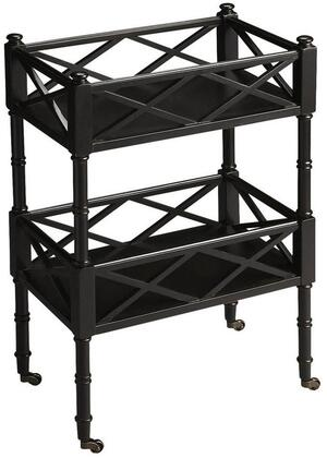 Foster Collection 1565111 Mobile Server with Transitional Style  Rectangular Shape  Medium Density Fiberboard (MDF) and Rubberwood Solids in Black