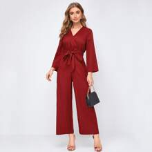 Surplice Neck Bell Sleeve Self Belted Wide Leg Jumpsuit