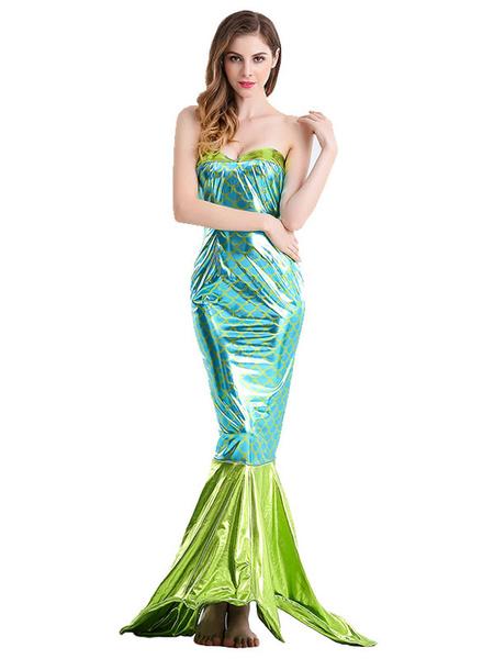 Milanoo de las mujeres trajes de sirena vestido de poliester verde atractivo de Halloween geometricas fiestas Trajes
