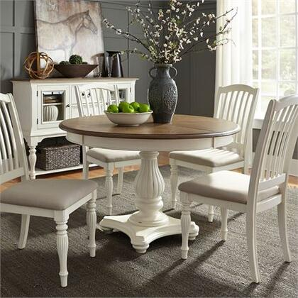 Cumberland Creek Collection 334-CD-5PDS 5PC Pedestal Table Set with 4x Slat Back Side Chair and 1 Pedestal Table in Nutmeg & White
