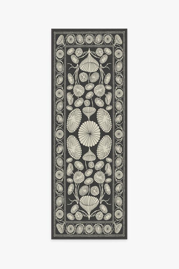 Washable Rug Cover | Cynthia Rowley Suzani Black Rug | Stain-Resistant | Ruggable | 2.5'x7'