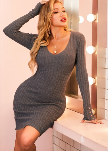 Cocktail Party Dress Decorative Button Long Sleeve Scoop Neck Sweater Dress - XL