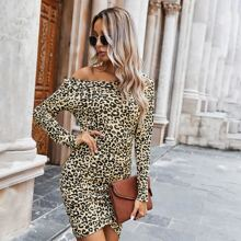 Leopard Print Ruched Bodycon Dress