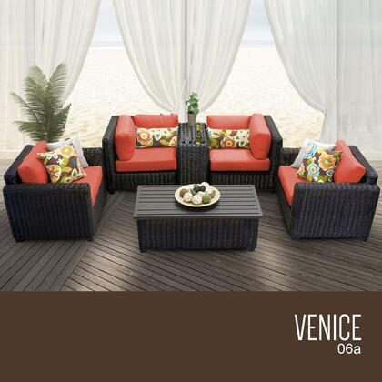 VENICE-06a-TANGERINE Venice 6 Piece Outdoor Wicker Patio Furniture Set 06a with 2 Covers: Wheat and