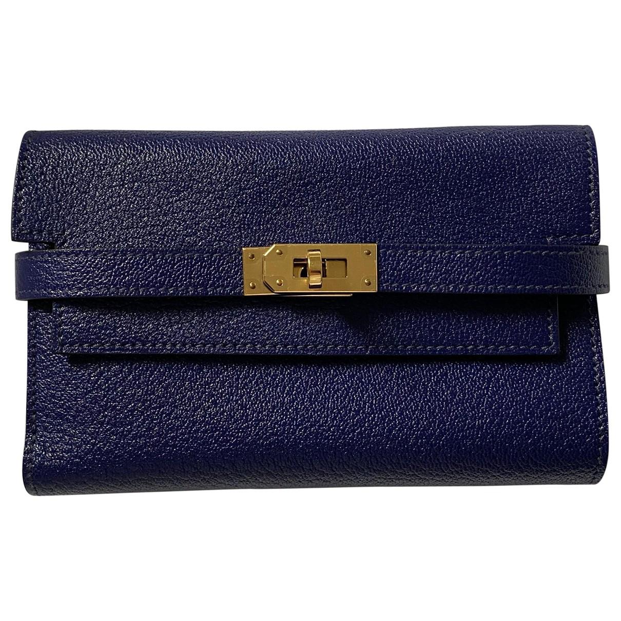 Hermes Kelly Portemonnaie in  Blau Leder