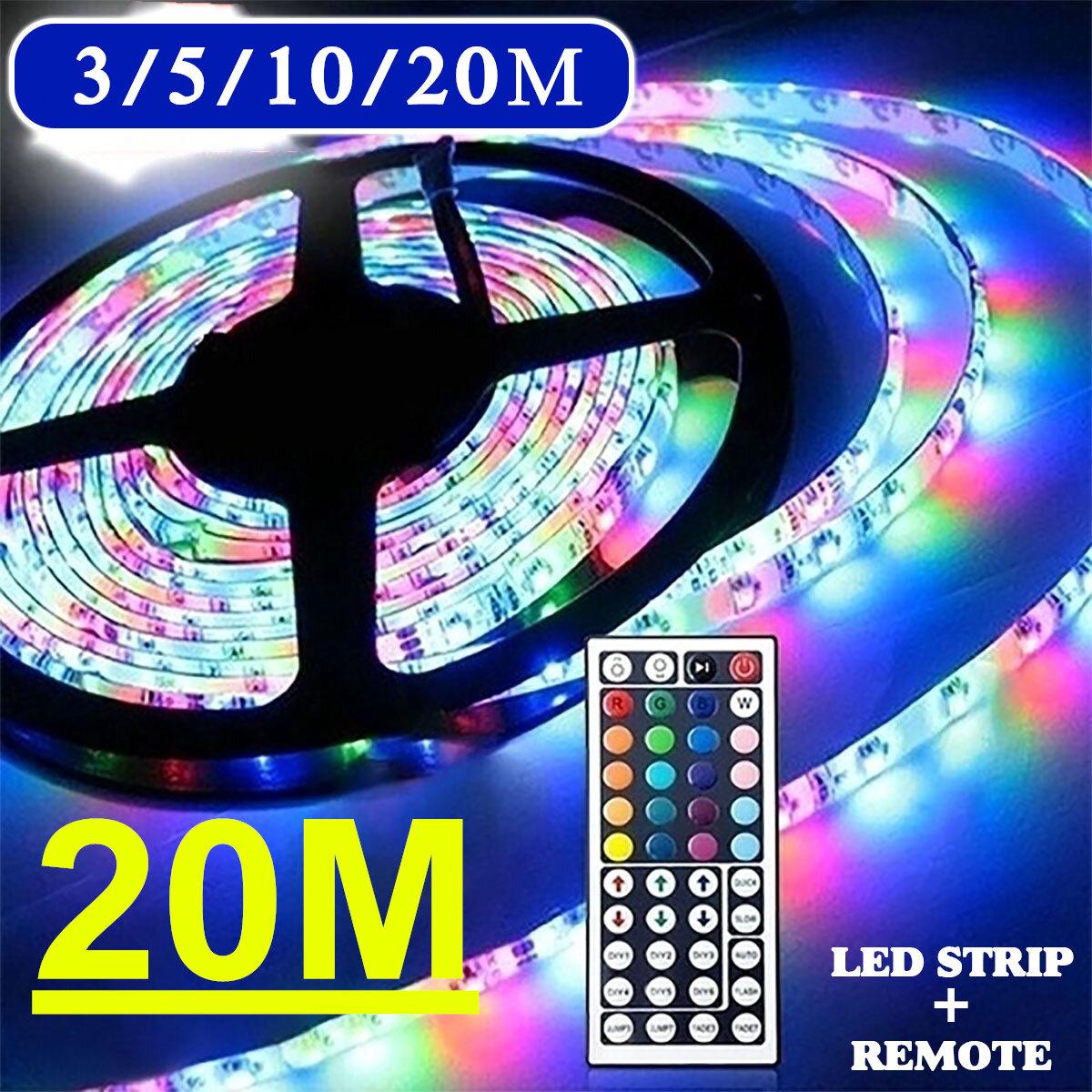 3/5/10M 3528 SMD RGB 600 LED Strip Light String Tape+44 Key IR Remote Control