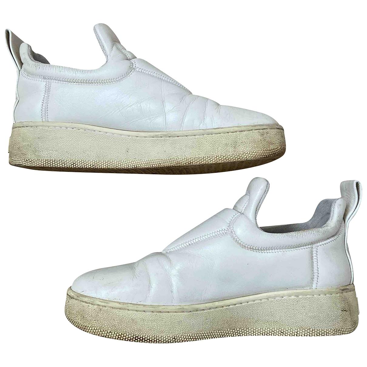 Celine - Baskets Pull On  pour femme en cuir - blanc