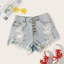 Button Fly Frayed Denim Shorts