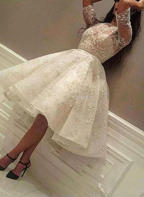 Puffy Lace vestidos de fiesta   Joyas medias mangas del regreso al hogar vestidos