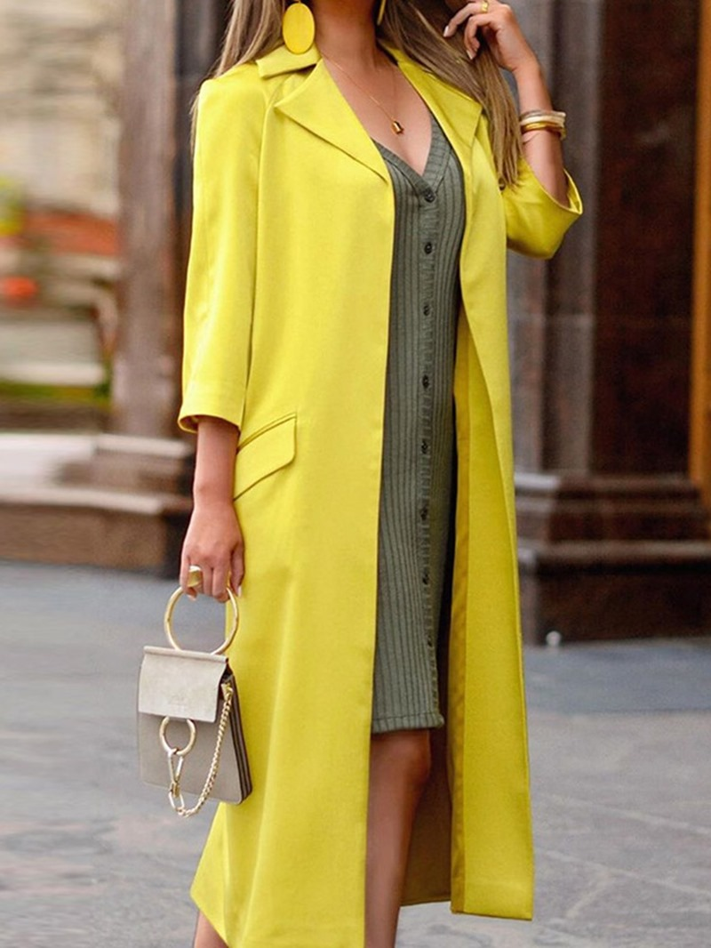 Ericdress Long Notched Lapel Wrapped Western Straight Trench Coat