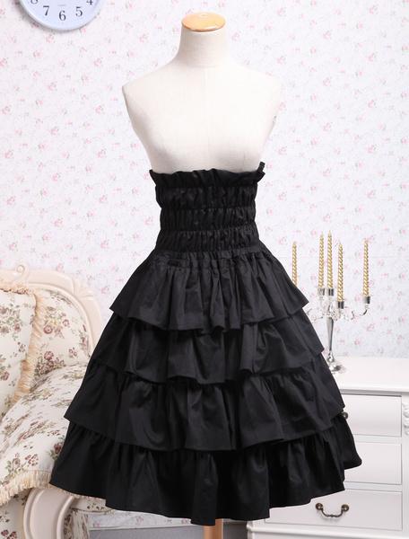 Milanoo Classic Cotton Black Ruffle Lolita Skirt