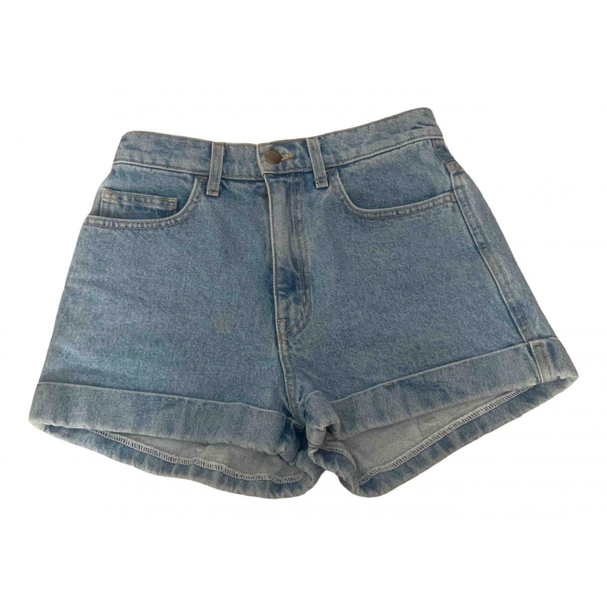 American Apparel \N Blue Cotton - elasthane Shorts for Women 34 FR
