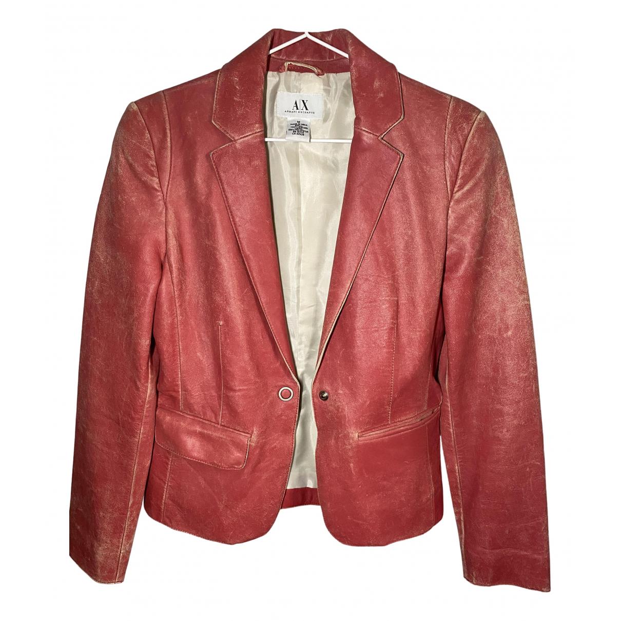 Emporio Armani \N Lederjacke in  Rot Leder