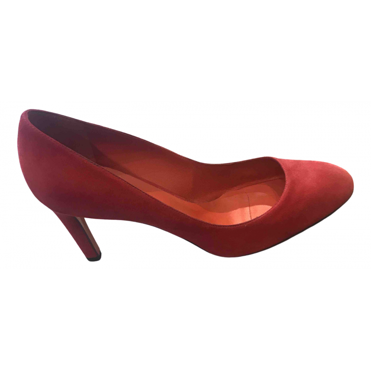 Santoni N Red Velvet Heels for Women 40 EU