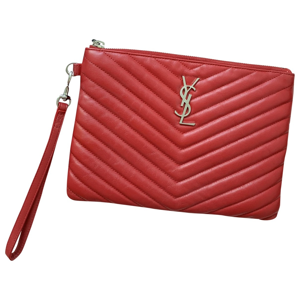 Saint Laurent New Jolie Clutch in  Rot Leder