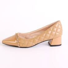 Chain Decor Quilted Court Heels