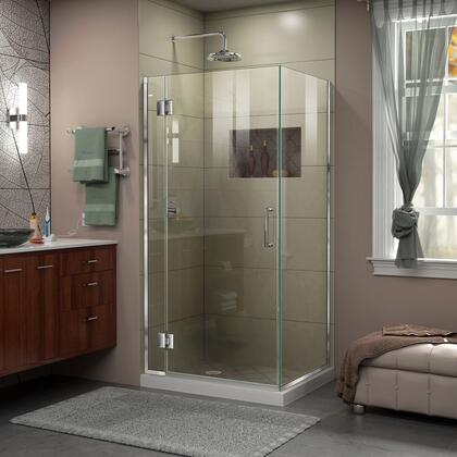 E12434-01 Unidoor-X 30 3/8 W X 34 D X 72 H Frameless Hinged Shower Enclosure In