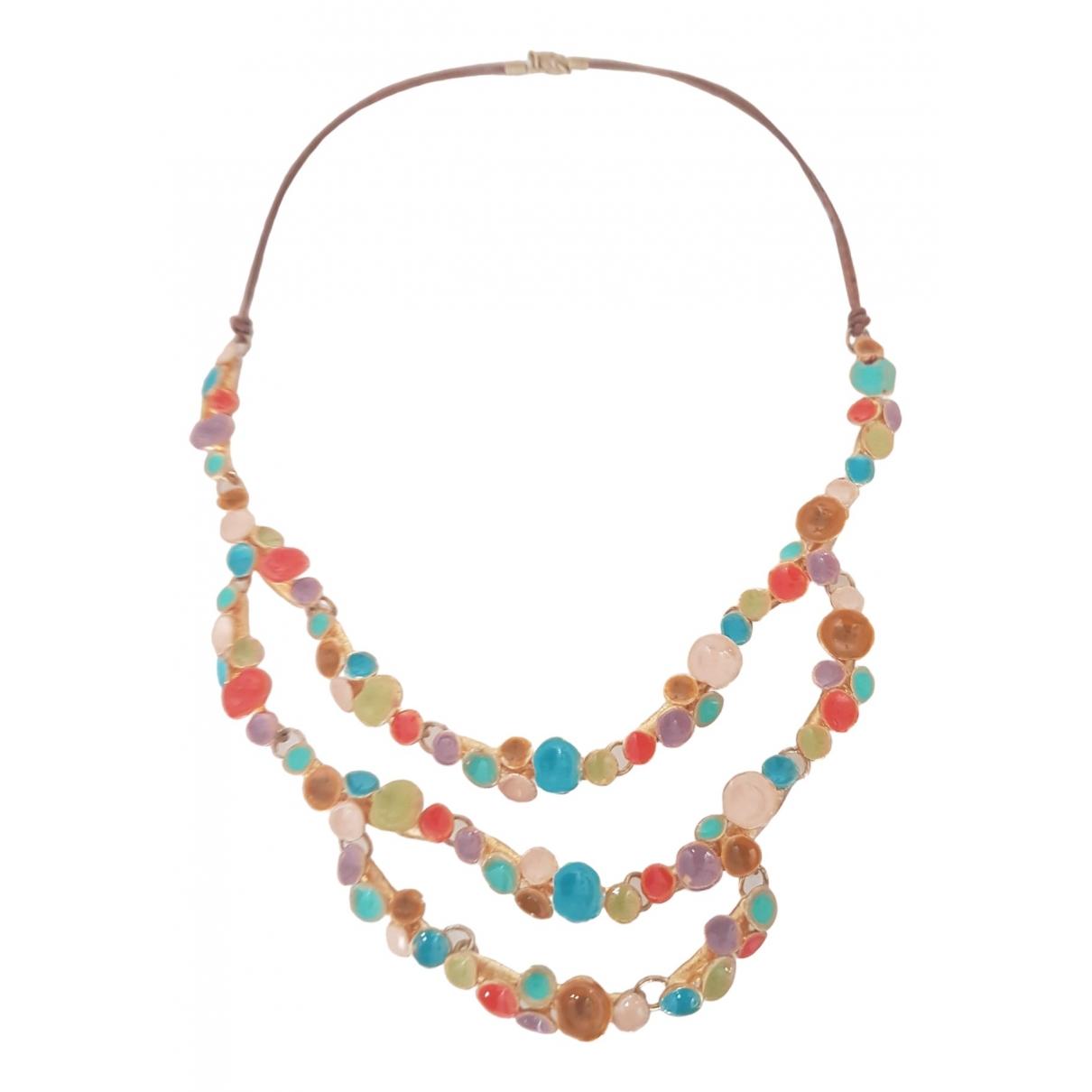 - Collier   pour femme en plaque or - multicolore
