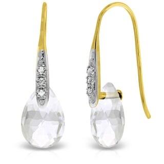 14K Solid Gold  Earrings w/ Diamonds & Dangling Briolette White Topaz (Yellow)