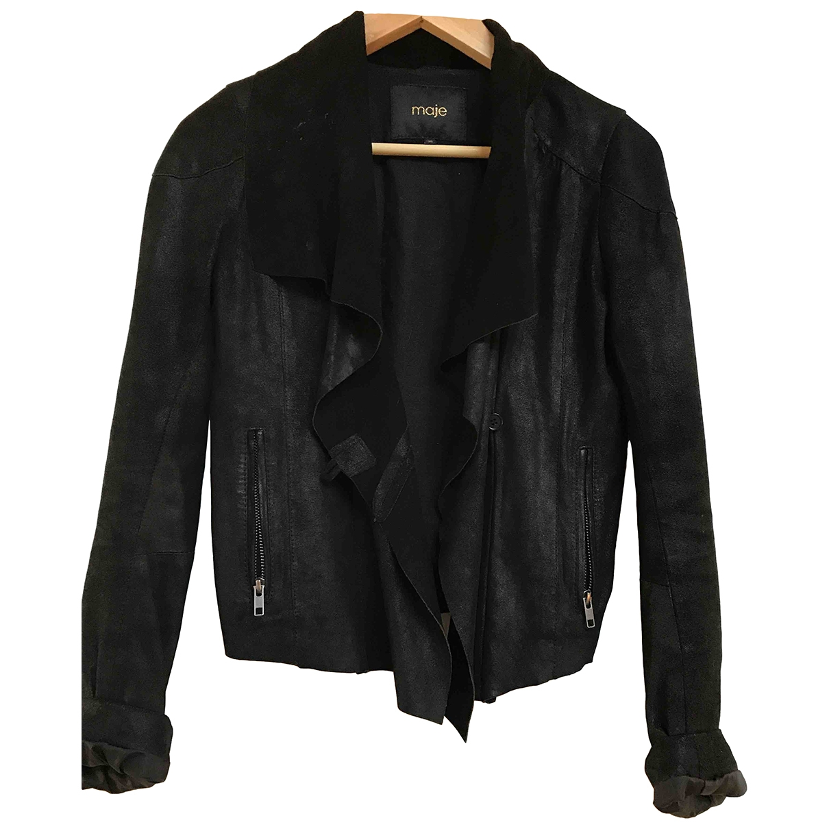 Maje \N Black Leather Leather jacket for Women 36 FR