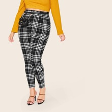 Plus Elastic Waist Plaid Leggings