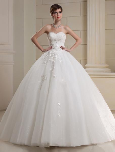 Milanoo Vestido de novia sin tirantes de tul vestido de novia flores rebordear plisado cariño escote palabra de longitud vestido de novia