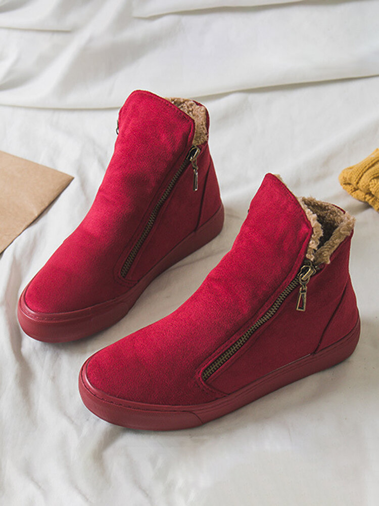 Women Solid Color Suede Side Zipper Casual Warm Snow Ankle Boots